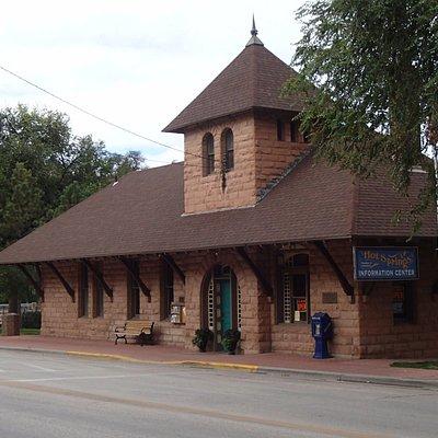 Visitor Center in historic sandstone railroad station, Hot Springs, SD