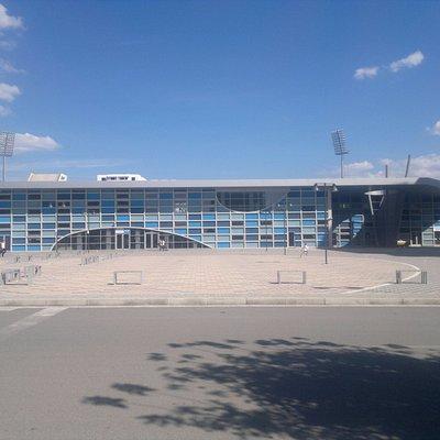 The fasade of Elbasan Arena.