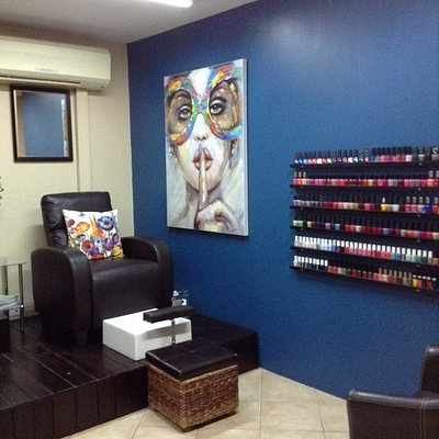 Extensive selecyton of nail colors and types of polish