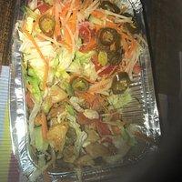 Kapsalon zonder patat besteld. 1 grote groentebrij