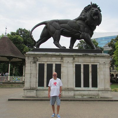 Battle of Maiwand memorial Lion in Forbury Gardens, commemorating loss of the 66th Regiment.