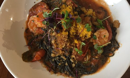 Squid ink sea food pasta.