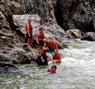 Guiding a group down the Rio Coco rapids