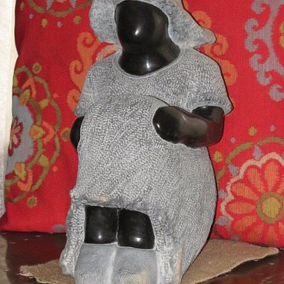 This is the sculpture I bought at Amazwi. I just love it and have named her Tilly.