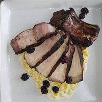 Smoked and grilled pork chop