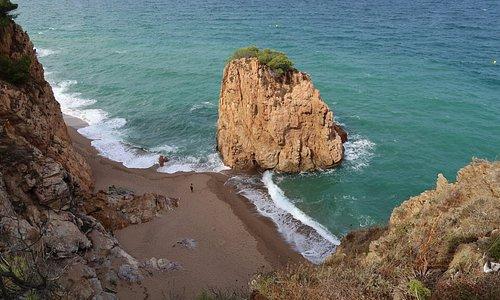vista de la playa desde el camino de acceso que viene de Sa Riera