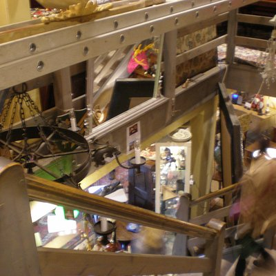 stairs to four floors of antiques