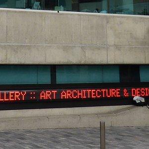 SASA Gallery Sign on the side of Kaunrna Building, Hindley Street