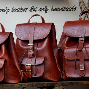 Handmade leather backpacks