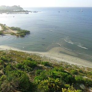 Vista aérea de la Playa La Caracola, Isla de Margarita, Venezuela.