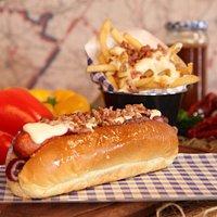 Cheesy Bacon Dog , with Cheesy bacon fries