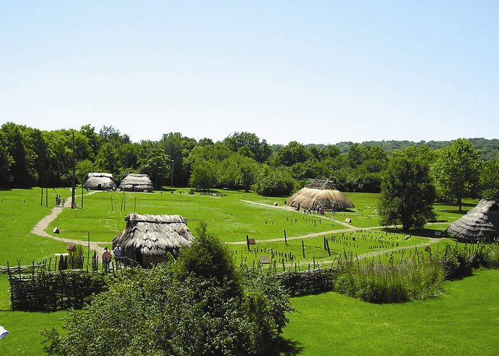 A view of the reconstructed village from the museum.