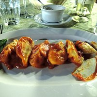 culurgionis pasta with tomato and basil sauce