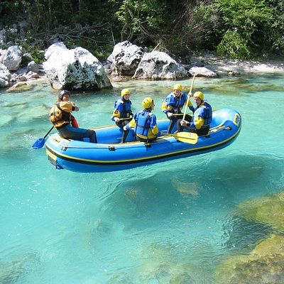 Rafting on a Crystal clear and emerald river Soca