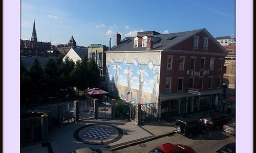 A view of the Hygienic art park and the  'Naked Ladies' mural.
