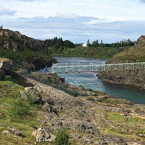 The bridge to Hrutey Island