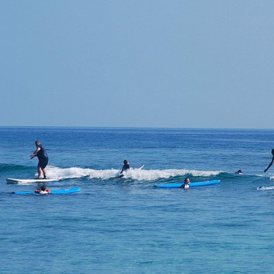 Catching some waves with the instructors.