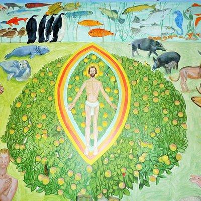Bild på Jesus i kyrkan målad av konstnären Olle Ljungberg