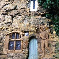 The entrance to the Chapel of Our Lady of the Crag, Knaresborough.