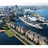 Nauticus Campus including Nauticus, the Battleship Wisconsin and the Decker Half Moone Center.