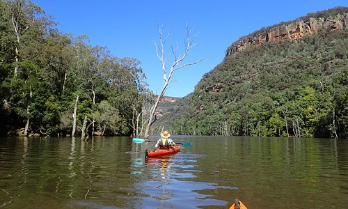 kayaking up the river from Tallowa dam