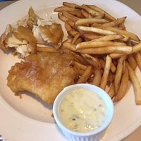 Halibut and chips option,  Bayside Grill,  Fir Street, Alert Bay, British Columbia