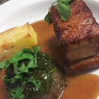 Twice cooked Galloway belly pork, puy lentils,  kale & dauphinoise potatoes cider just.