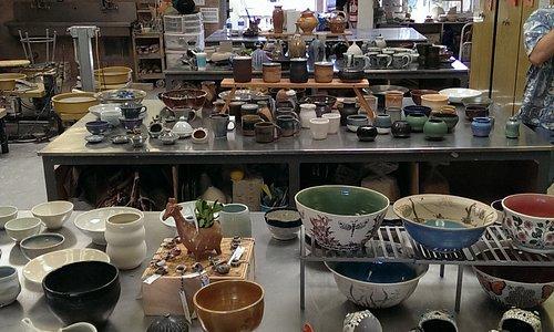 The ceramics studio hosts student pottery (and jewelry) sales