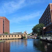 Canal view of the UMass Lowell Inn and Conference Center