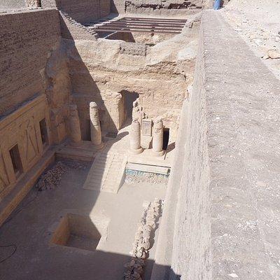 Unknown temple under excavation--150 foot drop