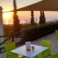 View from veranda of sunset at the cafe