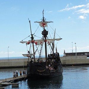 Tourists disembarking the Santa Maria, a replica of Christopher Columbus' ship