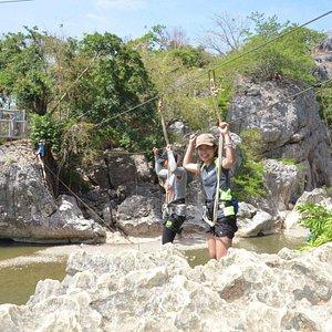River Crossing via a monkey bridge!