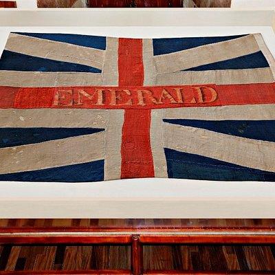 Bandera de la fragata EMERALD, 1797. Capturada en combate contra el contralmirante Horatio Nelso