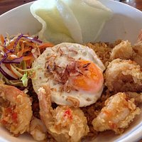 Indonesian Rice with prawns