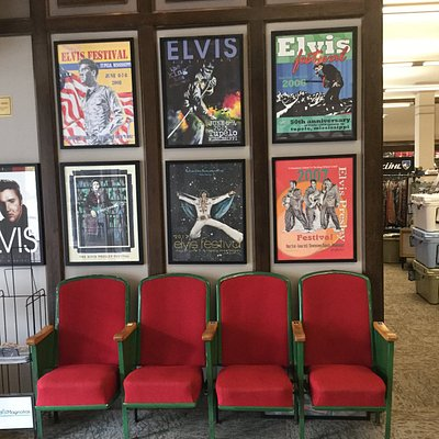 Theater seats from movie theater Elvis went to