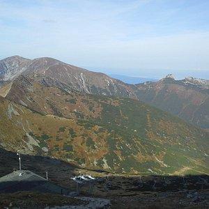Widok z Kasprowego Wierchu (w kierunku na Kopę, Malołaczniak, Ciamniak i Giewont po prawej))