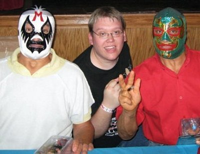 Frederick in our sport bar enjoying Mexican Lucha Libre