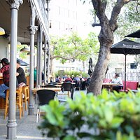 Weary travellers can relax and soak up the sun in the outdoor beer garden