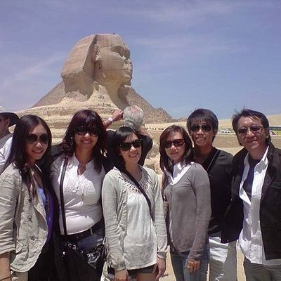 Memorial photo with my client from Japan,by the great sphinx at Giza