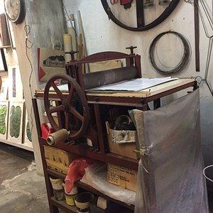 The repurposed rubber processing press