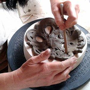 Decorative coiling, family workshop, at Katherine Fortnum Ceramics Workshop