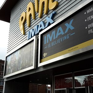front of the cinema building with IMAX advertisement