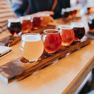Enjoy a taster flight at each brewery stop.