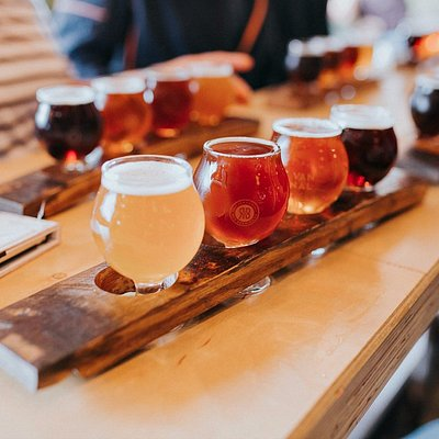 Enjoy a taster flight at each brewery stop.