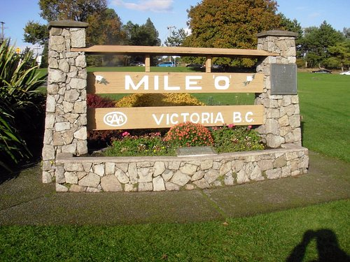 Mile Zero monument in Victoria marking the start of the Trans Canada Highway