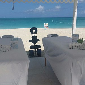 Directly on Grace Bay beach in front of Ricky's Cafe restaurant...