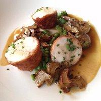 Green Circle Chicken with Lobster Mushroom, Cipollini Onions, Arugula Spatzle