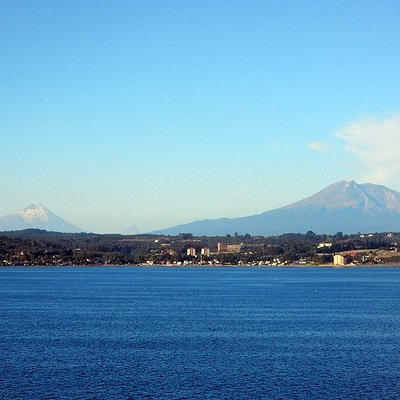 Lake Llanquihue with volcanoes in distance