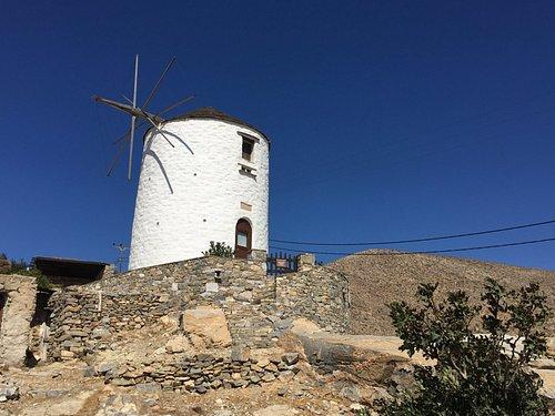 windmill next to Catholic Church of Agios Georgios in Ano Syros